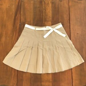 J Crew Pleated Tan Khaki Bow Front Mini Skirt